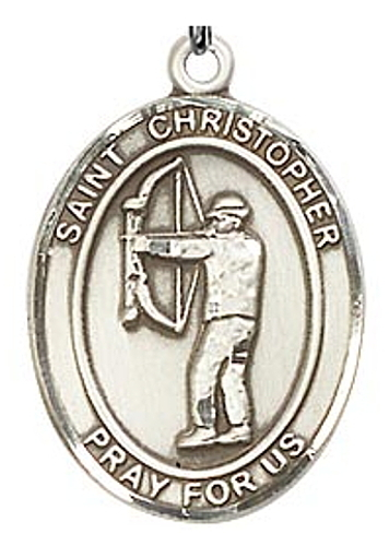 Medal St Christopher Men Archery 1 inch Sterling Silver