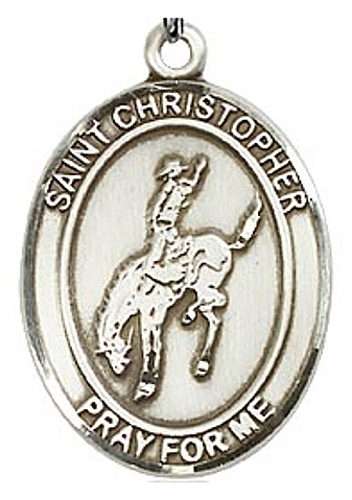 Medal St Christopher Men Equestrian 1 inch Sterling Silver