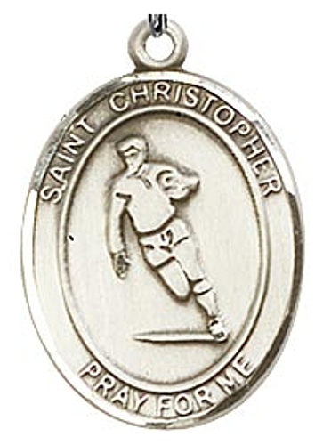 Medal St Christopher Men Rugby 1 inch Sterling Silver