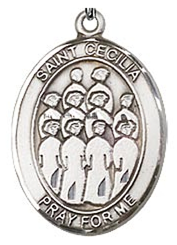Medal St Cecilia Women Music / Choir 3/4 inch Sterling Silver