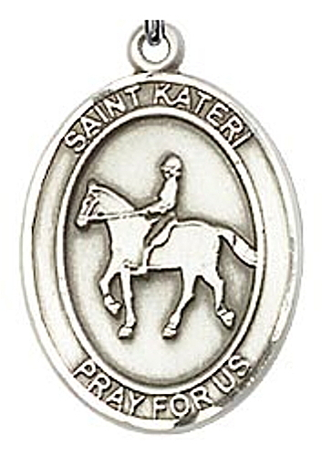 Medal St Kateri Tekakwitha Women Equestrian 3/4 inch Ster Silver