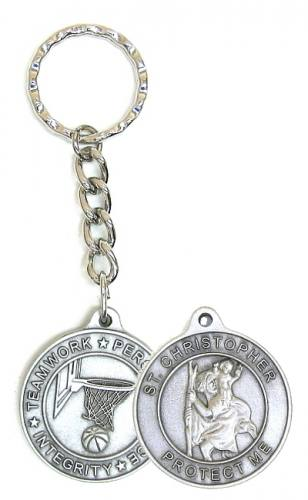 Keychain St Christopher Medal Basketball Pewter
