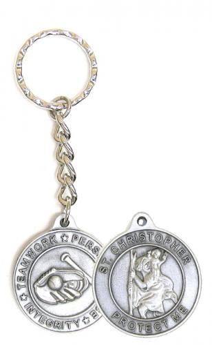 Keychain St Christopher Medal Baseball Pewter