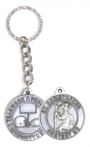 Keychain St Christopher Medal Football Pewter