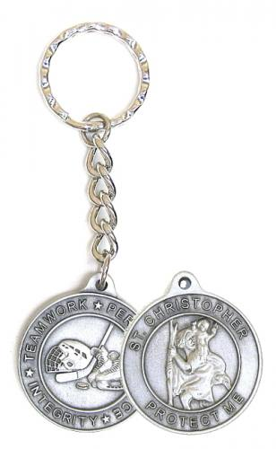 Keychain St Christopher Medal Ice Hockey Pewter