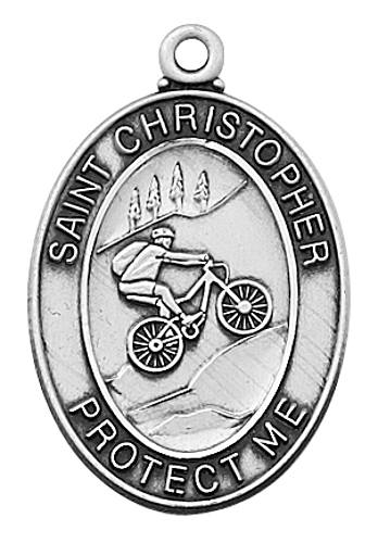 Medal St Christopher Men Biking 1 inch Sterling Silver