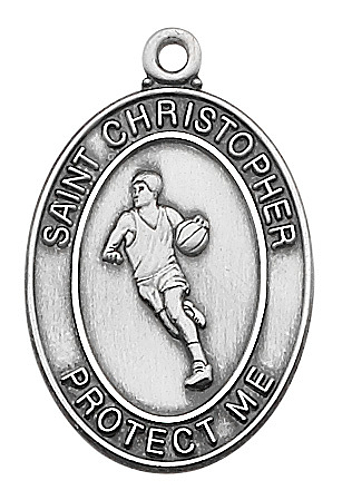 Medal St Christopher Men Basketball 1 inch Sterling Silver
