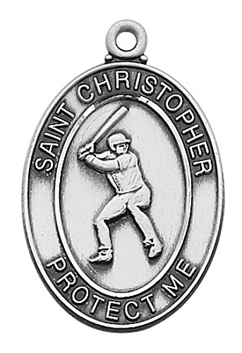 Medal St Christopher Men Baseball 1 inch Sterling Silver