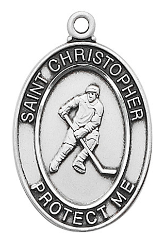 Medal St Christopher Men Ice Hockey 1 inch Sterling Silver