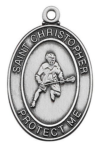 Medal St Christopher Men Lacrosse 1 inch Sterling Silver