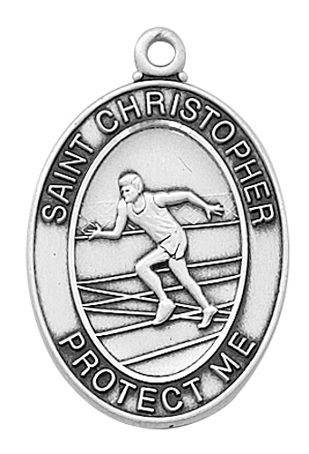 Medal St Christopher Men Track & Field 1 inch Sterling Silver
