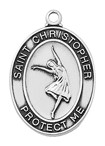 Medal St Christopher Women Ballet Dance 3/4 inch Sterling Silver