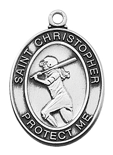 Medal St Christopher Women Softball 3/4 inch Sterling Silver