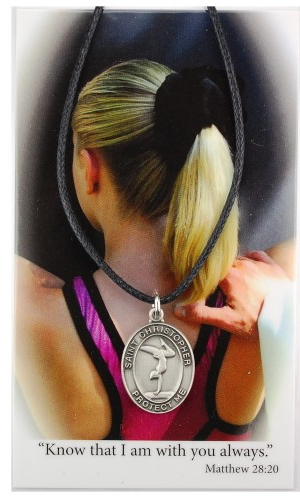 Medal St Christopher Women Gymnastics 3/4 inch Pewter Silver