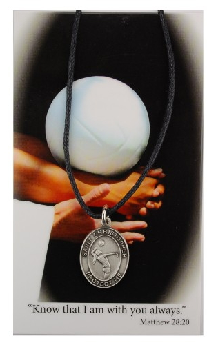 Medal St Christopher Women Volleyball 3/4 inch Pewter Silver