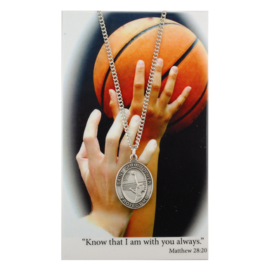 Medal St Christopher Women Basketball 3/4 inch Pewter Silver