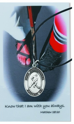 Medal St Christopher Men Ice Hockey 1 inch Pewter Silver