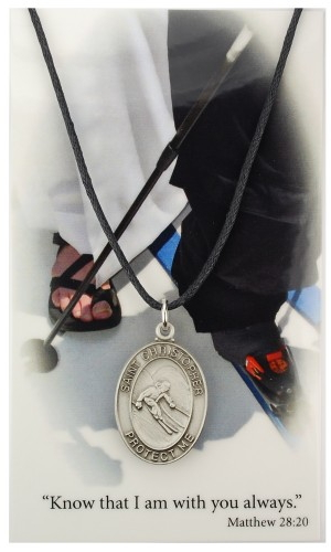 Medal St Christopher Men Skiing 1 inch Pewter Silver
