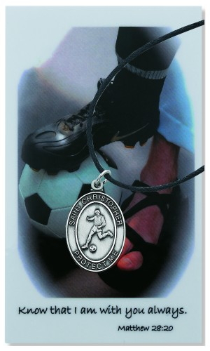 Medal St Christopher Men Soccer 1 inch Pewter Silver
