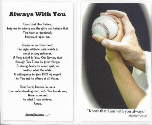 Prayer Card Baseball (25 pack) Laminated