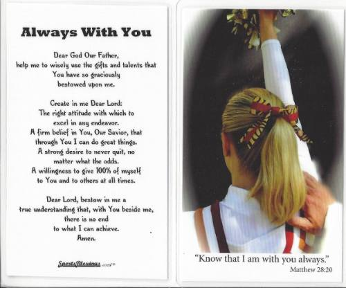 Prayer Card Cheerleading Laminated