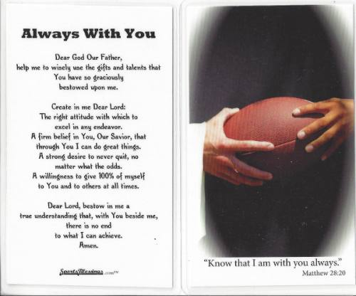 Prayer Card Football Laminated