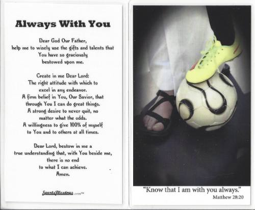 Prayer Card Soccer Women / Girl Laminated