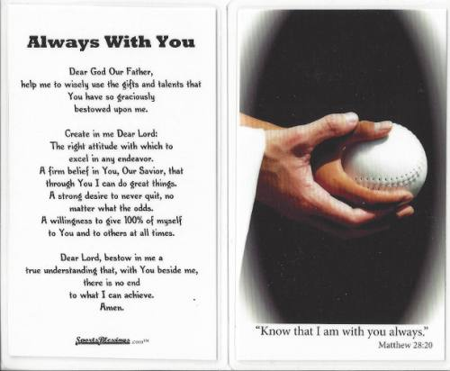 Prayer Card Softball (25 pack) Laminated
